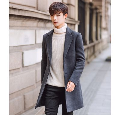 Long winter coat for men slim fit with buttons