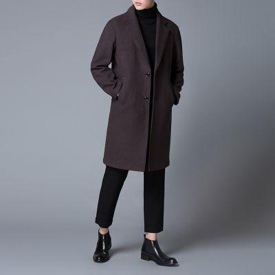 Long wool coat for men notch lapels