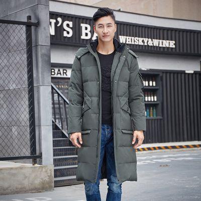 Longline hooded puffer coat for men