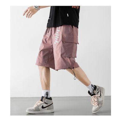 Loose elasticated men's cargo shorts