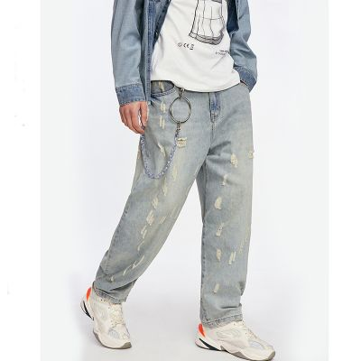 Loose fit jeans in light wash blue for men