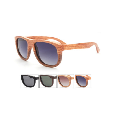 Wooden Frame Bamboo Aviator Sunglasses with Colored Lense