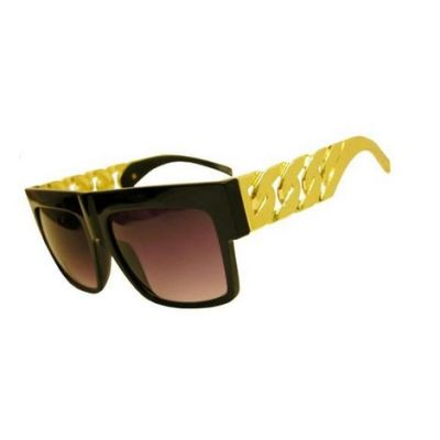 Gold Branch Flat top Sunglasses with Chunky Bling Bling Frame