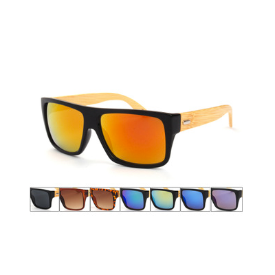 Flat Top Hipster Sunglasses with Wooden Frame Multicolor Glass