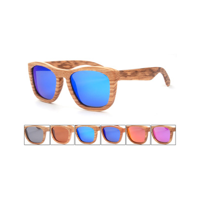 Wooden Frame Bamboo Sunglasses with Blue Pink Smoke Lense