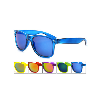 Wayfarer Sunglasses with See Through Transparent Colored Frame