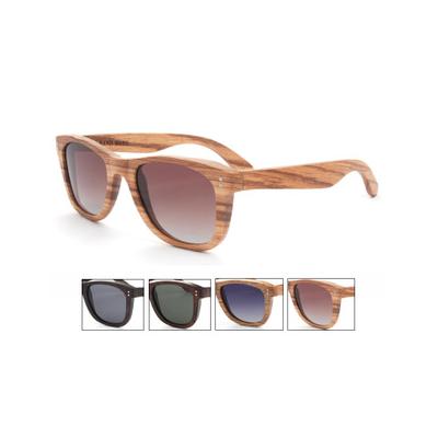 Retro Vintage Wood Frame Sunglasses with Dark Lense