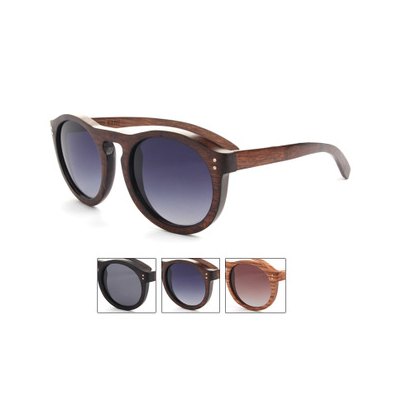 Round Vintage Bamboo Sunglasses with Colored Lense