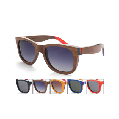 Wayfarer Sunglasses with Wooden Frame and Color Trim