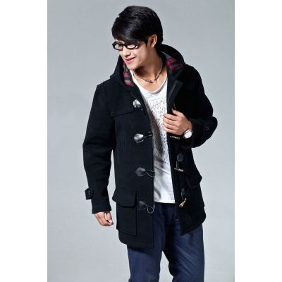 Men's Winter Duffle Coat with Hood and Traditional Button Closure