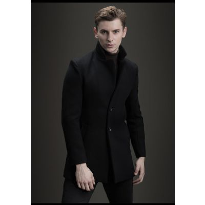 Slim fit wool winter coat for men with single breast buttons