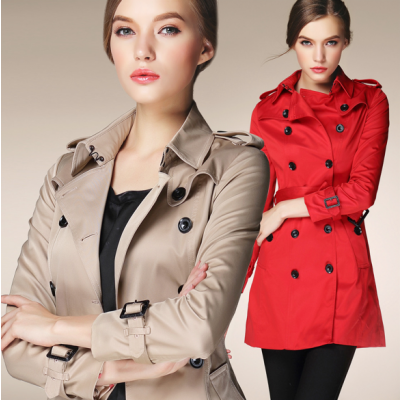 Women's Long Trench Coat with Classic Double Breast Design