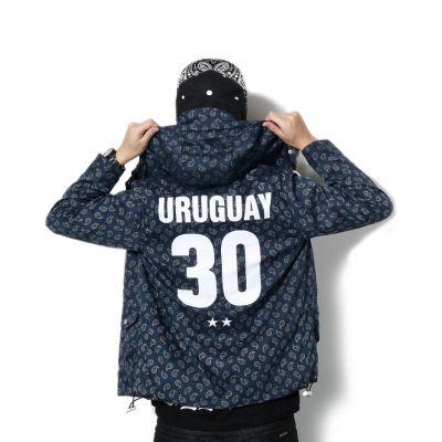 Hooded Windbreaker Jacket for Men Paisley and Uruguay Back #30