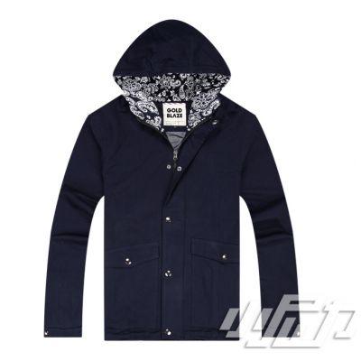 Hooded Windbreaker Jacket for Men Paisley Print in Hood and Collar