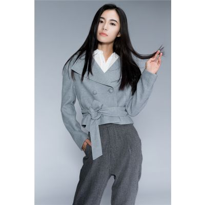 Short Wool Coat for Women with Double Breasted Closure and Belt