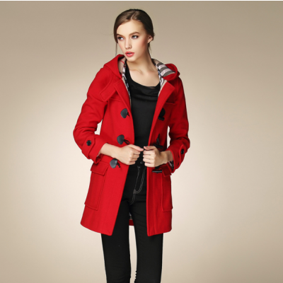Classic Women's Duffle Coat with Hood and Plaid Lining