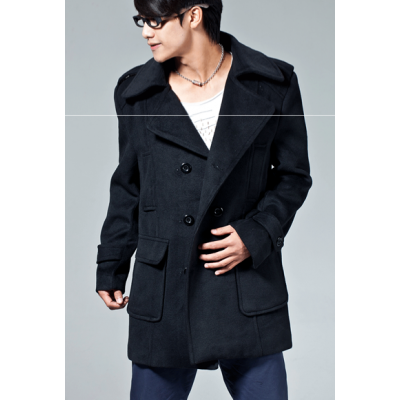 Winter Duffle Coat for Men with Double Breast Buttons and Large Pockets
