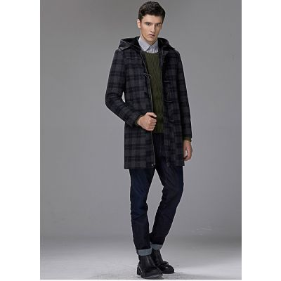 Mid Length Wool Duffle coat for men with hood winter