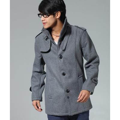 Men's Wool Duffle Coat with Collar Strap
