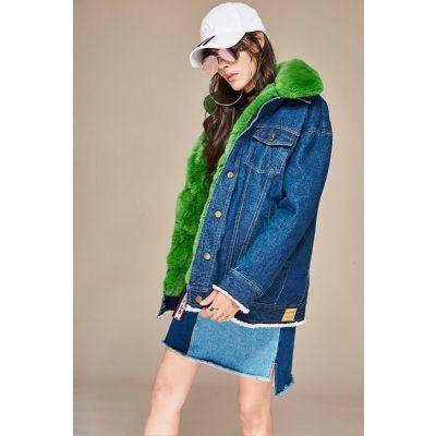 Oversized denim coat for women with detachable inner fur
