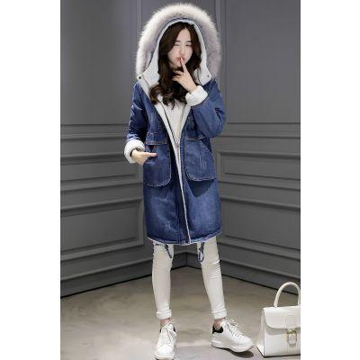 Women's denim coat with lined hood fur lining