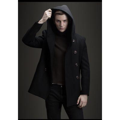 Wool coat with hood for men winter chic