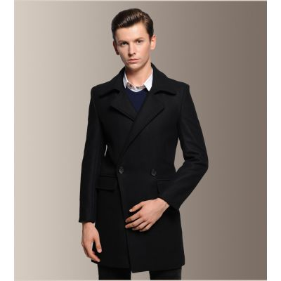 Classic Wool Coat with Single Button Row for Men