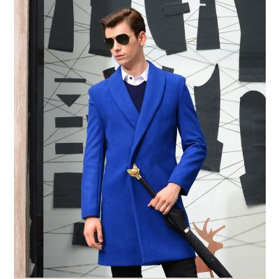 Oversize wool coat for men with hidden closure button