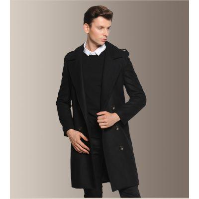 Classic vintage wool coat for men with shoulder straps