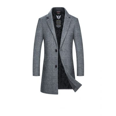 Men wool long outwear for men with plaid printing