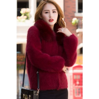 Fur coat for women short with plush collar