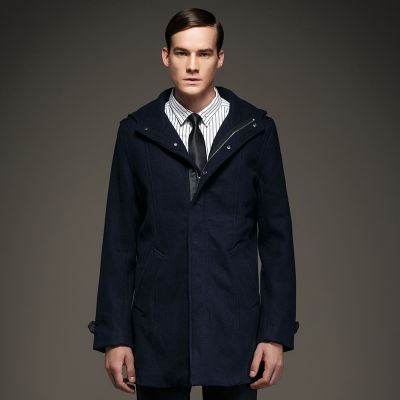 Hooded Winter Coat for men Wool