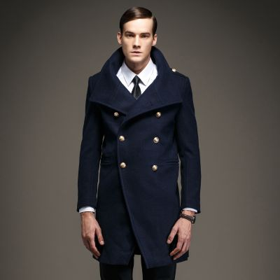 Men's Woolen Double-Breasted Winter Coat with a wide Neck