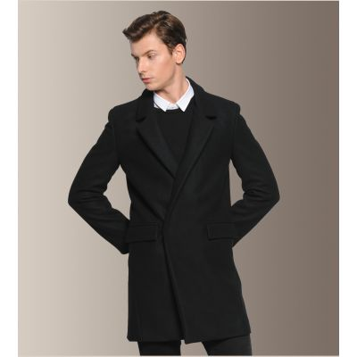 Men's Winter Wool Coat with Hidden Button Closure