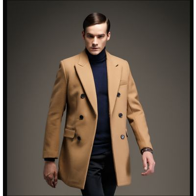 Classic double breasted wool winter coat for Men