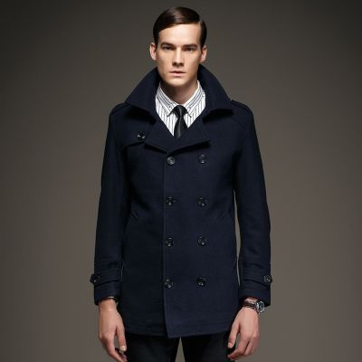 High collar winter coat for men with double breast closure