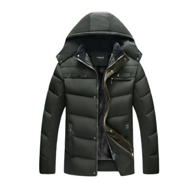 Padded winter puff coat for men with fur inside and large hood