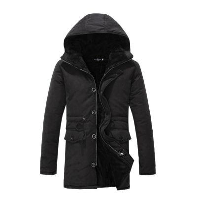 Winter coat for men with thick fur lining inside and drawstring waist