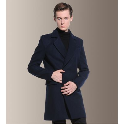 Wool woolen winter coat for men with hidden double-breasted