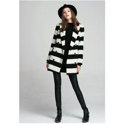 Wool Winter Coat for Women with Large Black White Stripes