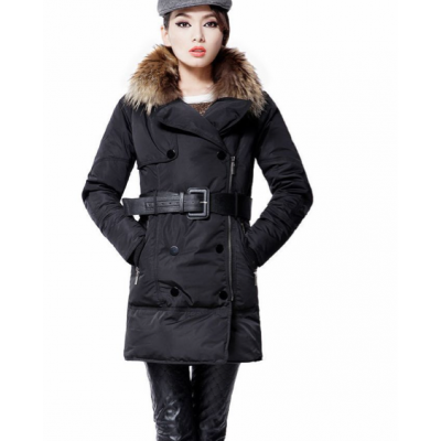 Long Padded Parka for Women with Fur Hood and Double Breast Buttons