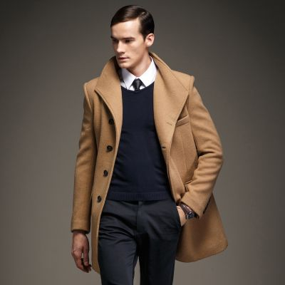 Wool winter coat for men with hidden buttons