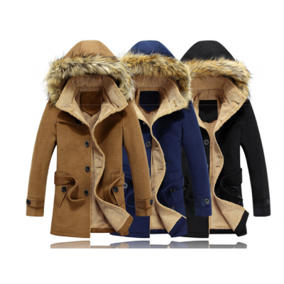 Men's Winter Coat with Fur Lined Hood and Inner Faux Fur