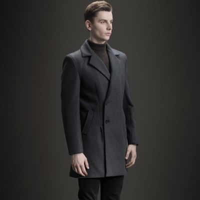 Winter Wool Coat for men with offset side buttons