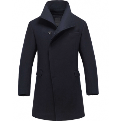 Men's Long Winter Coat with Hidden Buttons - Wool