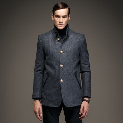 Slim fit men's wool winter coat with gold buttons