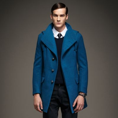 Men's Woolen Winter Coat with Buttons Inside