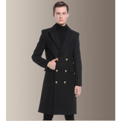 Long-sleeved wool coat for men with double breasted