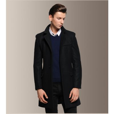 Long slim fit wool coat for men with single button closure