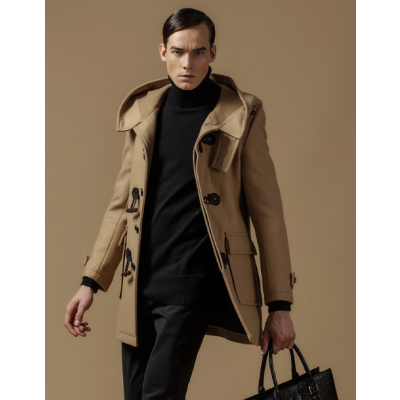 Hooded Duffle Coat for Men with Traditional Duffle Buttons - Wool